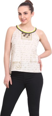 RSVP Cross Casual Sleeveless Printed Women's White Top