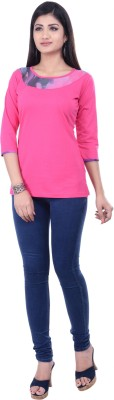 Rene Casual 3/4 Sleeve Solid Women's Pink Top