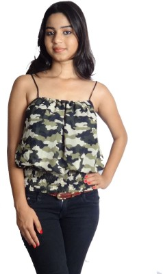Oomph Factor Casual, Party Sleeveless Printed Women's Multicolor, Green Top