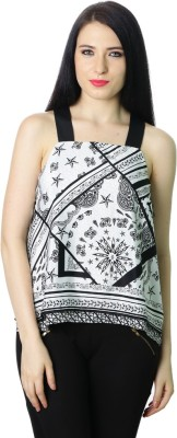 StyleToss Casual Sleeveless Printed Women's Black, White Top