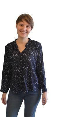 Onemm Casual Full Sleeve Printed Women's Blue Top