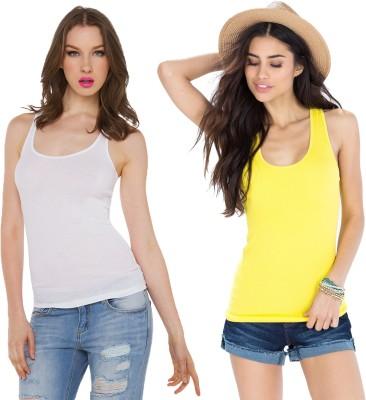 Amoya Casual Sleeveless Solid Women's White, Yellow Top
