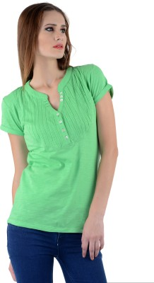 The Clove Casual Short Sleeve Solid Women's Green Top