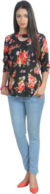 Glitterss Casual 3/4 Sleeve Printed Women's Red, Black Top