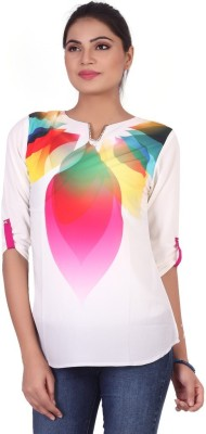 Pink Nine Casual 3/4 Sleeve Graphic Print, Embellished Women's White, Pink Top