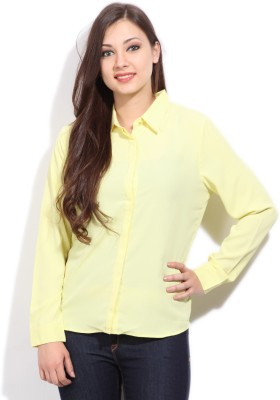 Arrow Casual Full Sleeve Solid Women's Yellow Top