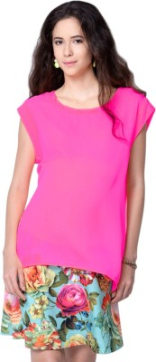 MamaCouture Casual Sleeveless Solid Women's Pink Top