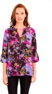 Vivante by VSA Casual 3/4 Sleeve Floral Print Women's Purple Top