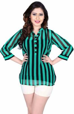 Aasvaa Casual 3/4 Sleeve Solid Women's Green Top
