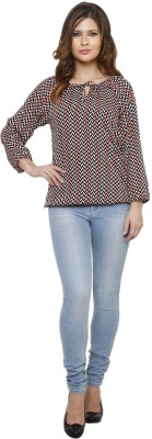 Thousand Shades Casual Full Sleeve Printed Women's Pink, Black Top
