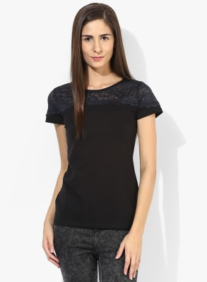 T-shirt Company Casual Short Sleeve Solid Women's Black Top