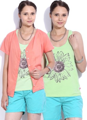 United Colors of Benetton Casual Sleeveless Printed Womens Green, Pink Top