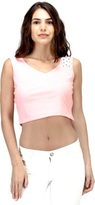 Satovira Party Sleeveless Applique Women's Pink Top