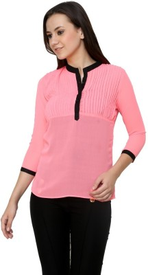 99Hunts Casual 3/4 Sleeve Solid Women's Pink Top