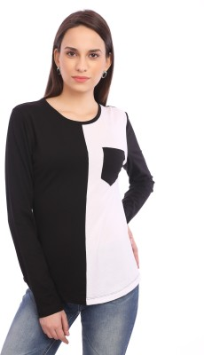 Legona Casual Full Sleeve Solid Women's Black, White Top