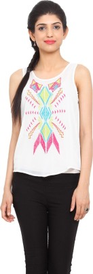 Label VR Casual Sleeveless Embroidered Women's White Top