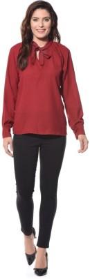 XNIVA Casual Full Sleeve Solid Women's Maroon Top