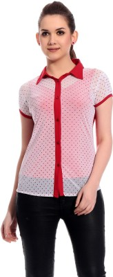 Rose Taylor Casual Short Sleeve Printed Women's Red Top