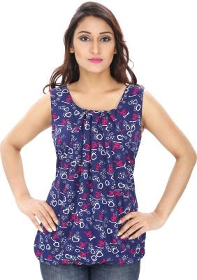 Rashi Creation Party Sleeveless Printed Women's Dark Blue Top