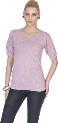 Aussehen Casual Short Sleeve Solid Women's Purple Top