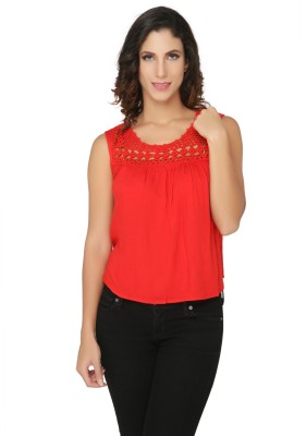 Philigree Casual Sleeveless Solid Women,s Red Top
