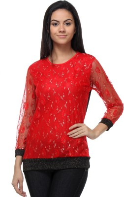 Kaxiaa Casual Full Sleeve Embellished Women's Red Top