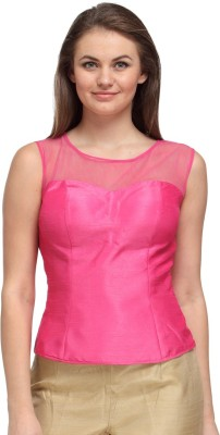 Just Wow Casual Sleeveless Solid Women's Pink Top