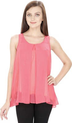 Svt Ada Collections Casual Sleeveless Solid Women's Pink Top