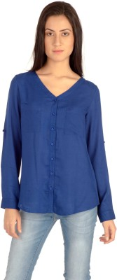 MIST ISLAND Casual Full Sleeve Solid Women's Blue Top