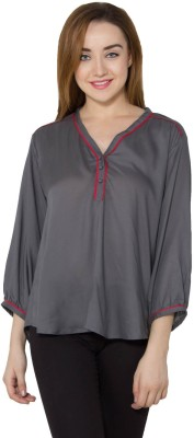 Vasstram Casual 3/4 Sleeve Solid Women's Grey Top