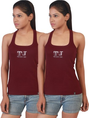 Twin Birds Casual Sleeveless Solid Women's Maroon Top