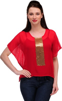 In-Trend Casual Butterfly Sleeve Solid Women,s Red Top
