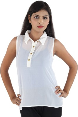 Aimeon Casual Sleeveless Solid Women's White Top