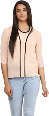 Glitterss Casual 3/4 Sleeve Solid Women's Beige, Black Top