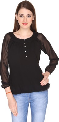Miss Rich Casual Full Sleeve Solid Women's Black Top