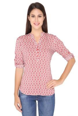 Girl Next Door Casual Roll-up Sleeve Printed Women's Red Top