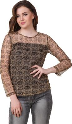 Lili Blank Casual Full Sleeve Printed Women's Brown Top