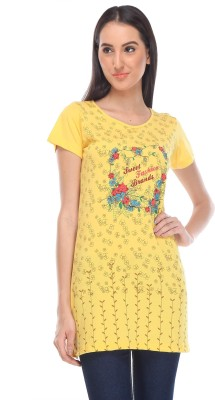 Rose Taylor Casual Short Sleeve Printed Women's Yellow Top
