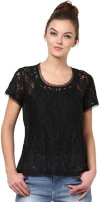 La Rochelle Casual Short Sleeve Self Design Women's Black Top