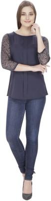 Pops N Pearls Casual 3/4 Sleeve Solid Women's Dark Blue Top