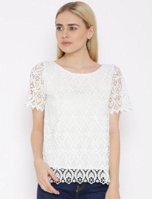 VAAK Casual Full Sleeve Self Design Women's White Top