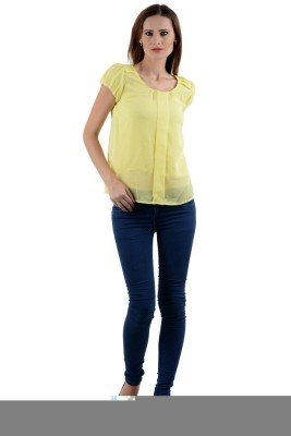 1 For Me Casual Short Sleeve Solid Women,s Yellow Top