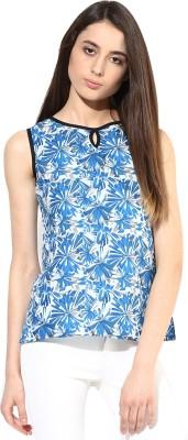 JaipurKurti Casual Sleeveless Floral Print Women's Blue Top