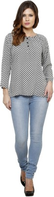 Thousand Shades Casual Full Sleeve Printed Women's White, Black Top