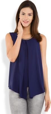 Tokyo Talkies Casual Sleeveless Solid Women's Dark Blue Top