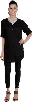 Pret a Porter Casual 3/4 Sleeve Embellished Women's Black Top