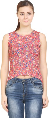 Wear Berry Party Sleeveless Printed Women's Red Top