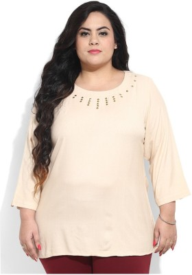 Amydus Casual 3/4 Sleeve Self Design Women's Beige Top