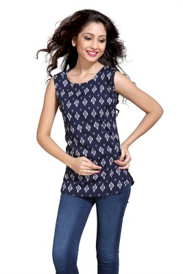 Eighteen4ever Casual Sleeveless Printed Women's Blue Top