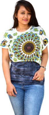 Aarti Collections Casual, Formal, Festive Butterfly Sleeve Printed Women's Green Top